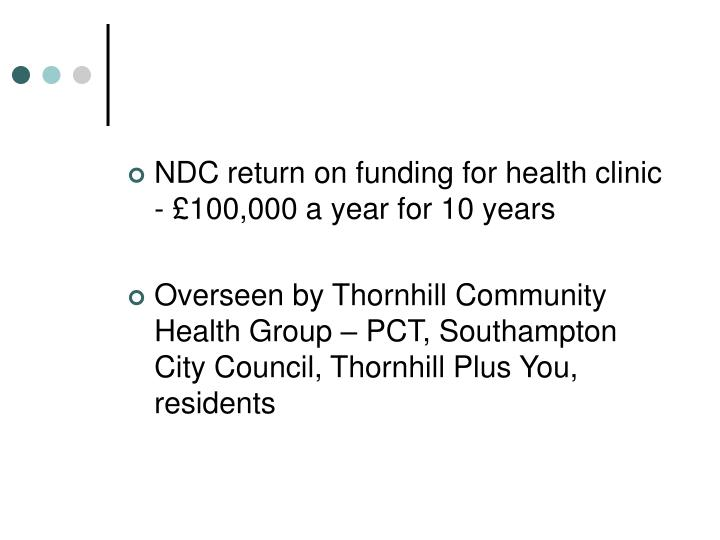 NDC return on funding for health clinic - £100,000 a year for 10 years