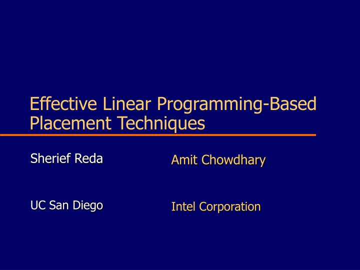 effective linear programming based placement techniques n.