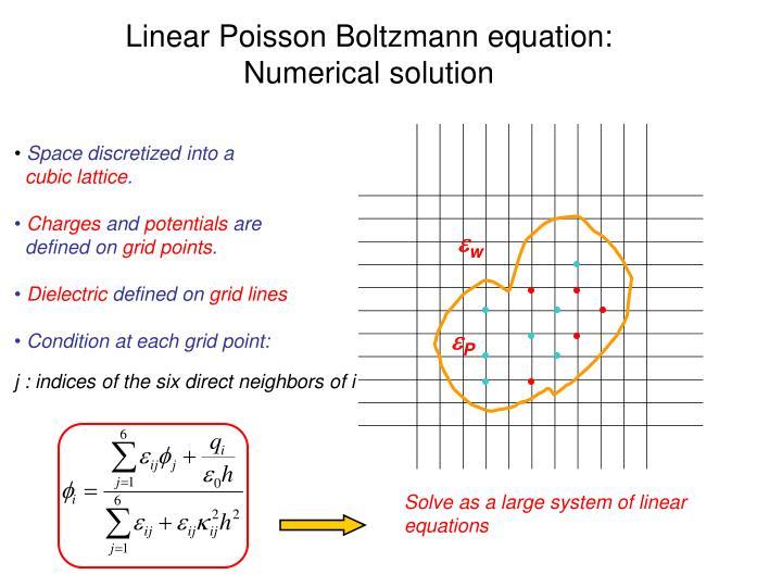 Linear Poisson Boltzmann equation: