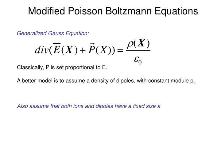 Modified Poisson Boltzmann Equations