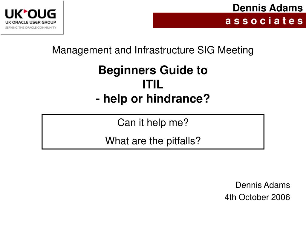 beginners guide to itil help or hindrance n.