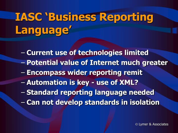 IASC 'Business Reporting Language'