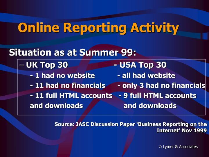 Online Reporting Activity