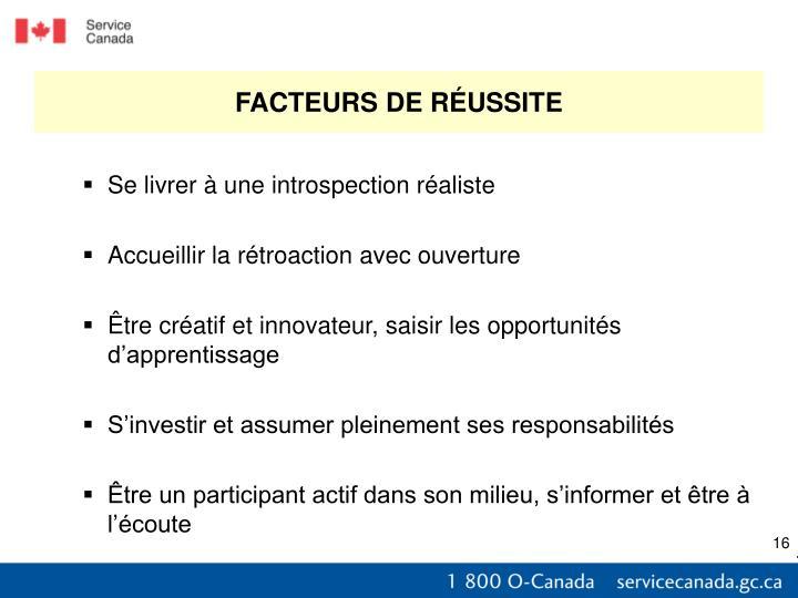 FACTEURS DE RÉUSSITE