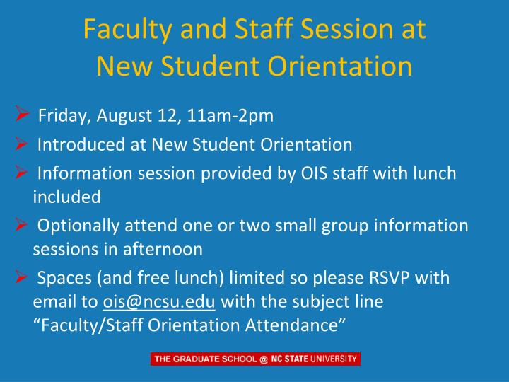 Faculty and Staff Session at   New Student Orientation