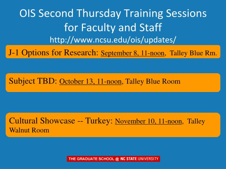 OIS Second Thursday Training Sessions for Faculty and Staff
