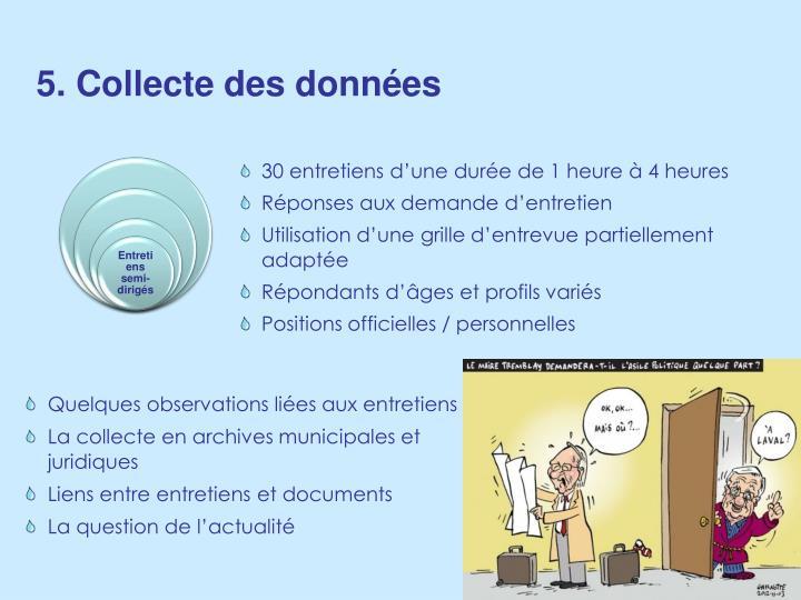 5. Collecte des données