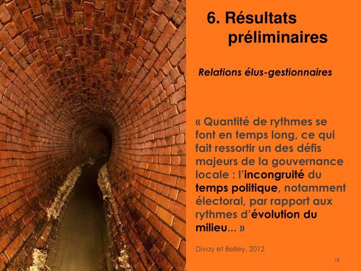 6. Résultats préliminaires