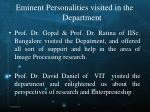 eminent personalities visited in the department