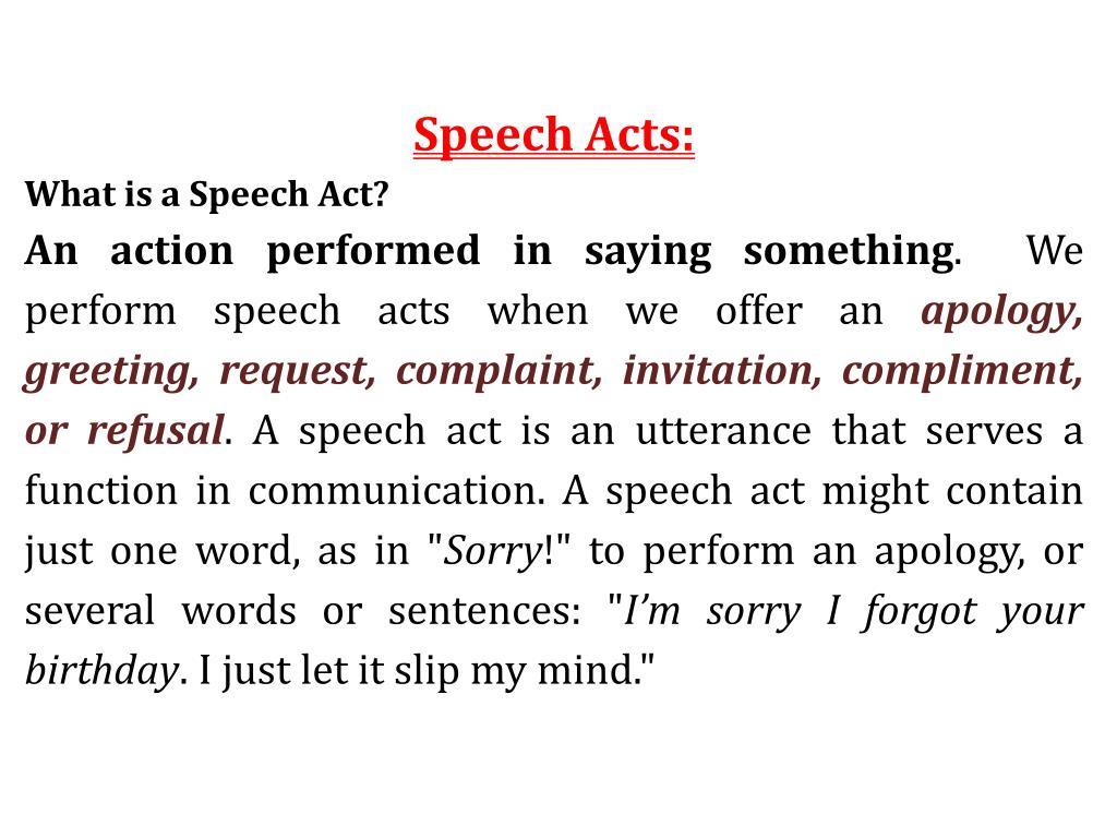 Ppt Speech Acts What Is A Speech Act Powerpoint Presentation