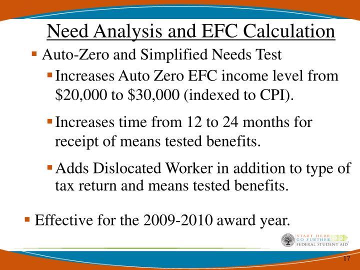 Need Analysis and EFC Calculation