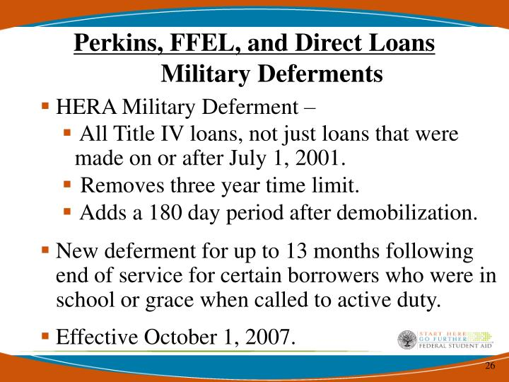 Perkins, FFEL, and Direct Loans