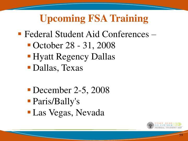 Upcoming FSA Training