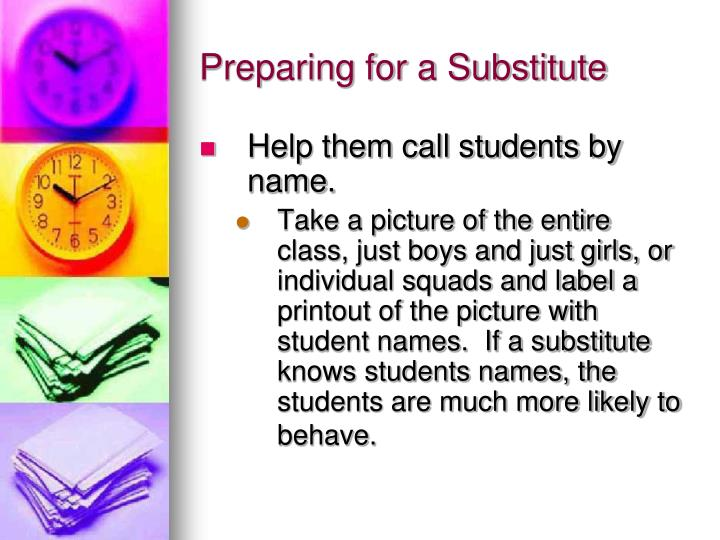 Preparing for a Substitute