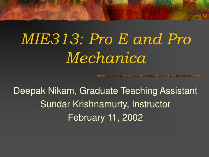 mie313 pro e and pro mechanica n.