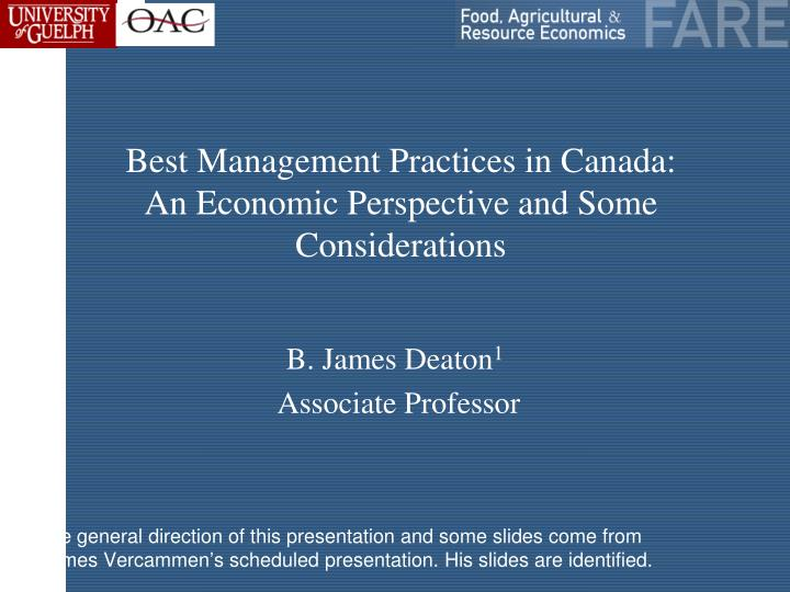 best management practices in canada an economic perspective and some considerations n.