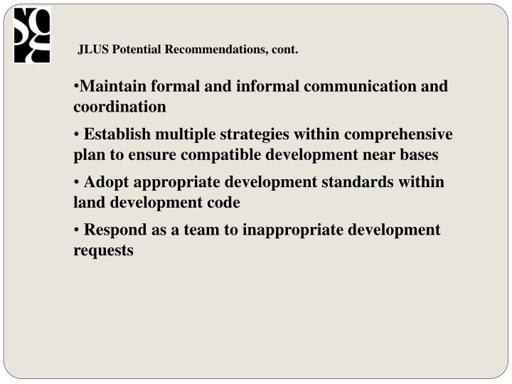 JLUS Potential Recommendations, cont.