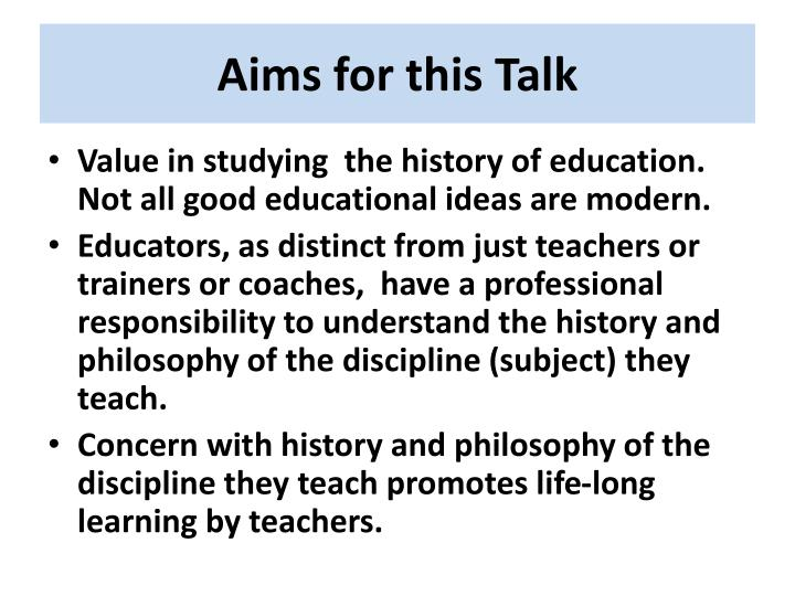 Aims for this talk