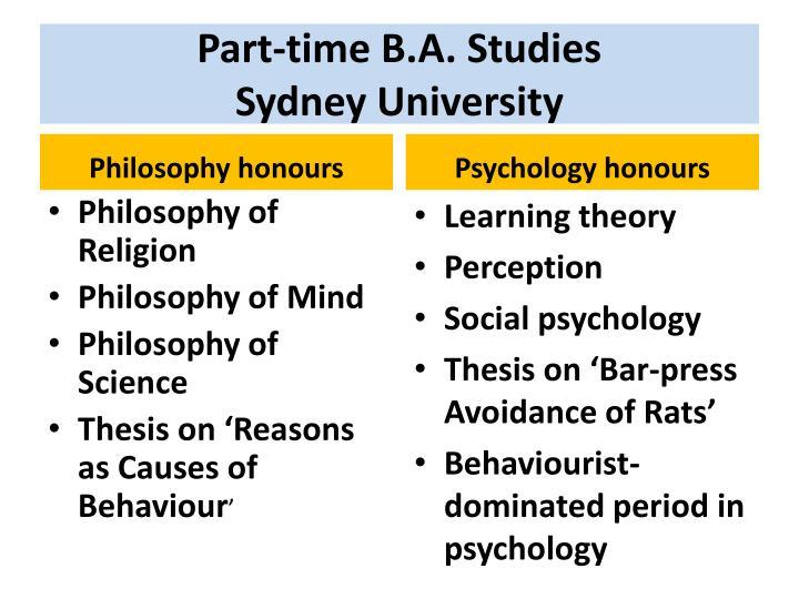 Part-time B.A. Studies