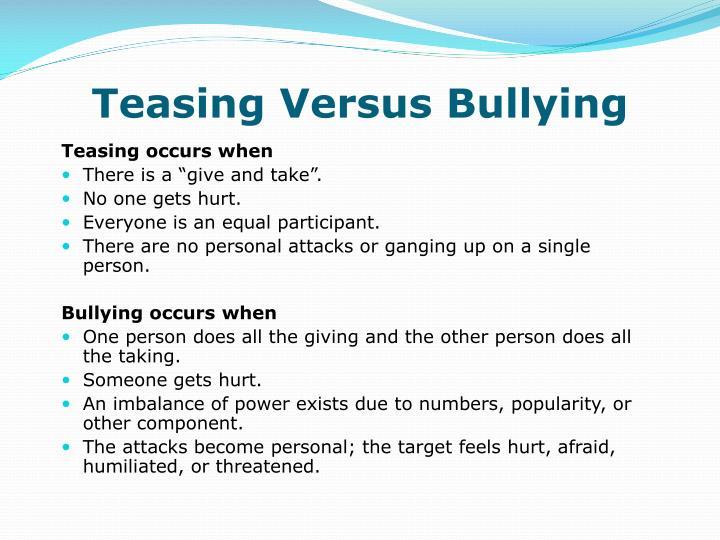 Teasing Versus Bullying
