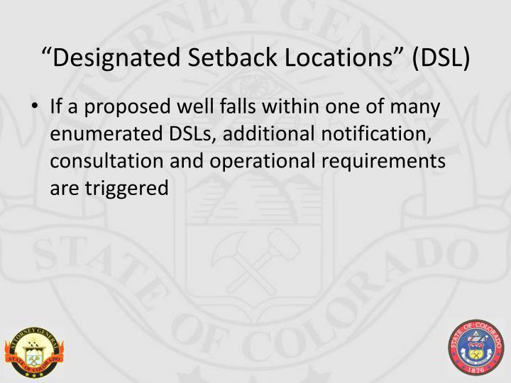 """""""Designated Setback Locations"""" (DSL)"""