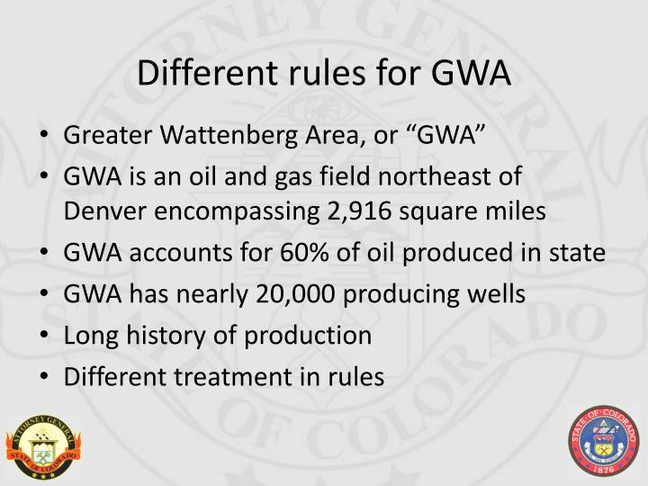 Different rules for GWA