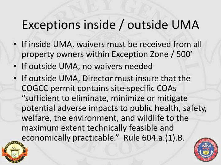 Exceptions inside / outside UMA