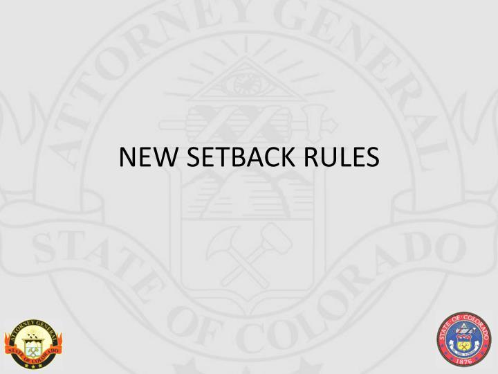 NEW SETBACK RULES