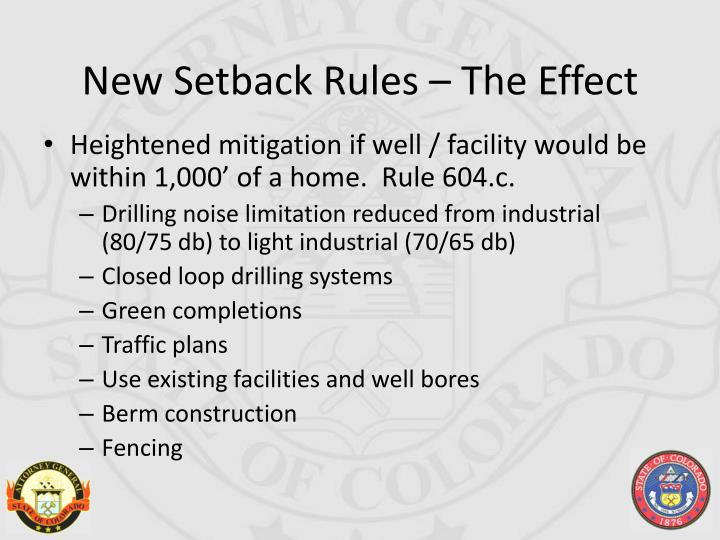 New Setback Rules – The