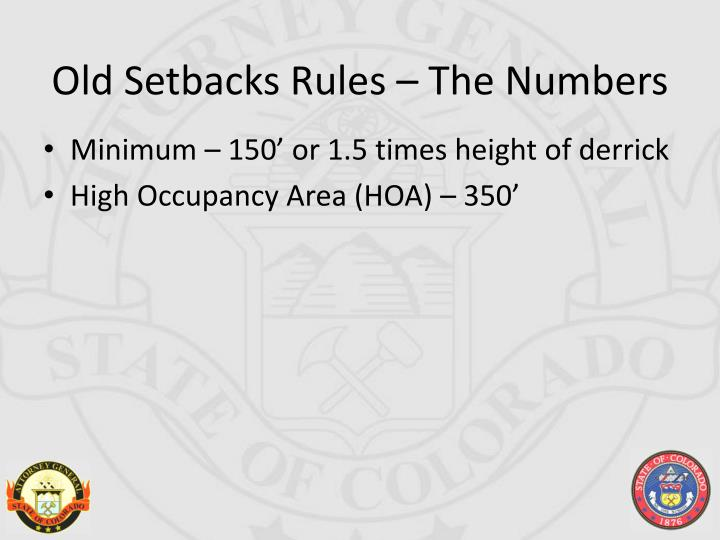 Old Setbacks Rules – The Numbers