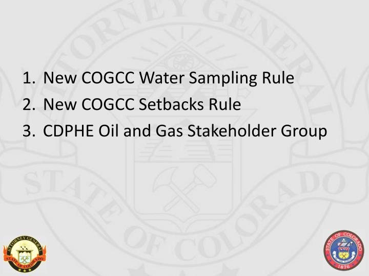 New COGCC Water Sampling Rule