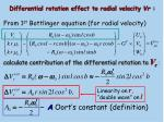 differential rotation effect to radial velocity vr