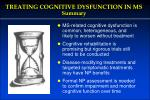 treating cognitive dysfunction in ms summary