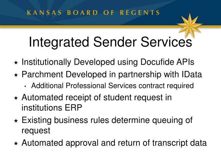Integrated Sender Services