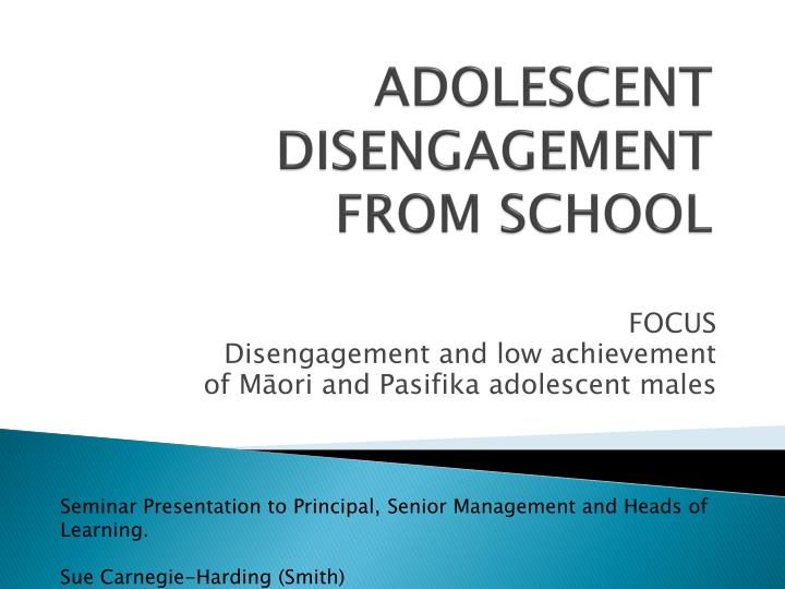 adolescent disengagement from school n.