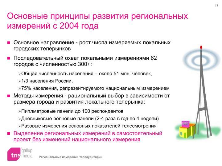Основные принципы развития региональных измерений с 2004 года