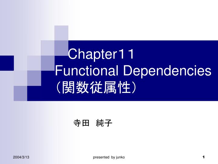 chapter functional dependencies n.