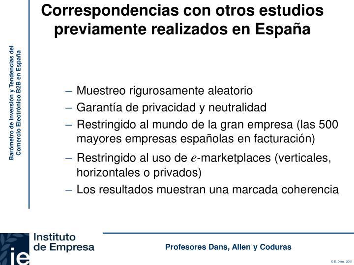 Correspondencias con otros estudios previamente realizados en España