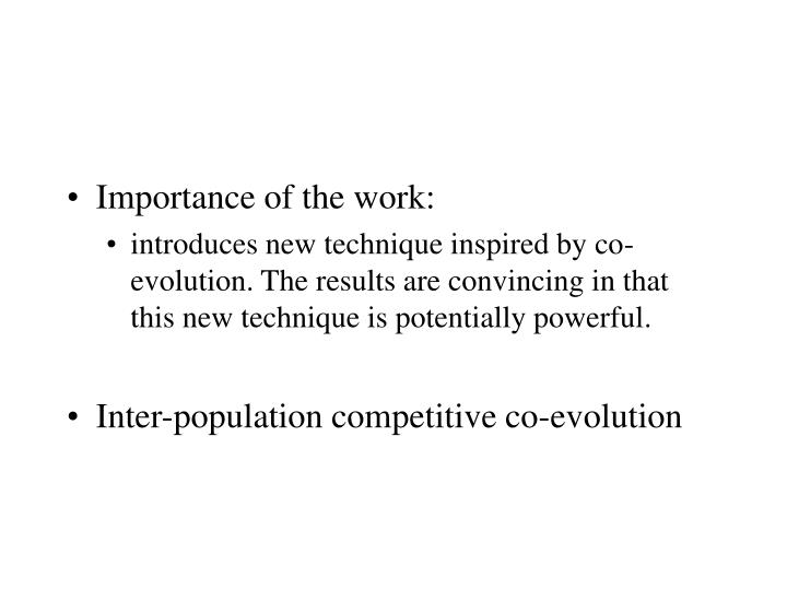 Importance of the work: