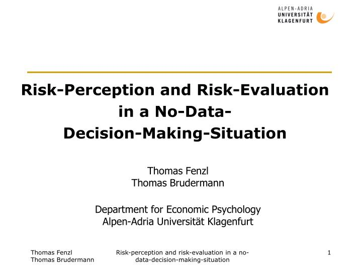 risk perception and risk evaluation in a no data decision making situation n.