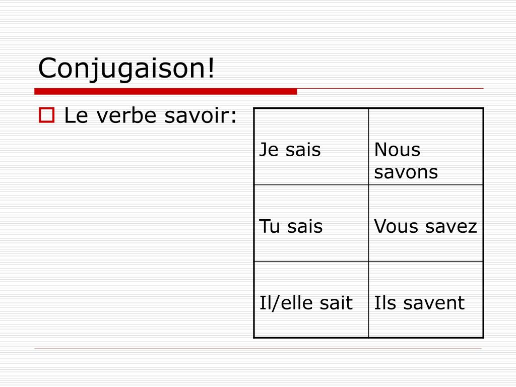 Ppt Les Verbes Savoir Et Connaitre Powerpoint Presentation Free Download Id 1813208