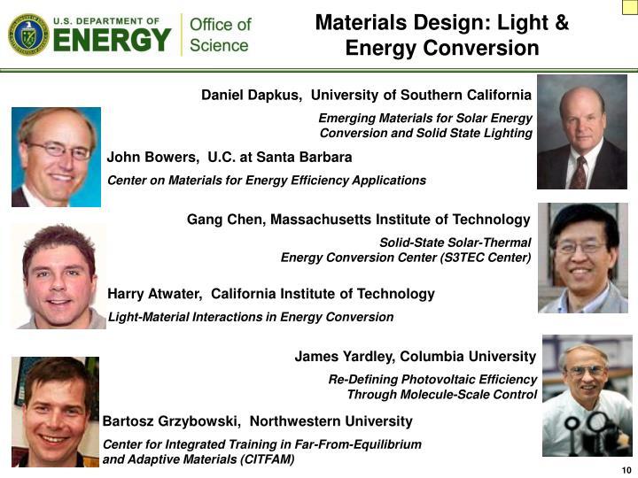 Materials Design: Light & Energy Conversion