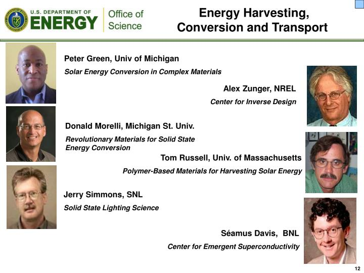 Energy Harvesting, Conversion and Transport