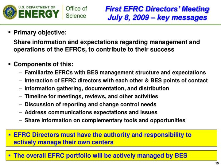 First EFRC Directors' Meeting