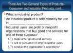 there are two general types of products consumer and industrial products cont