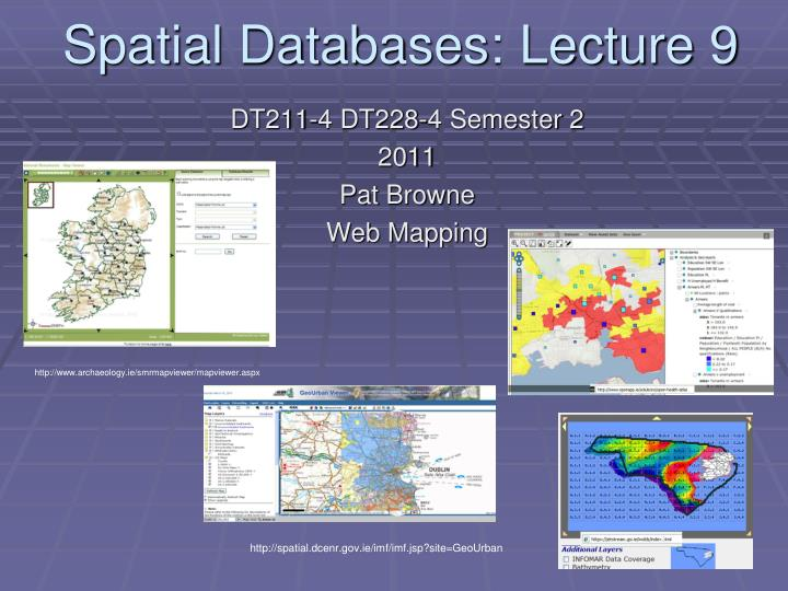 spatial databases lecture 9 n.