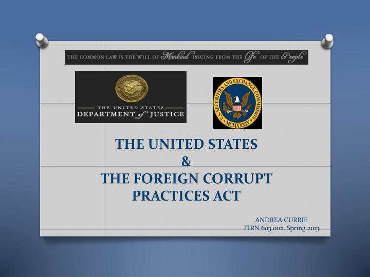 the united states the foreign corrupt practices act n.