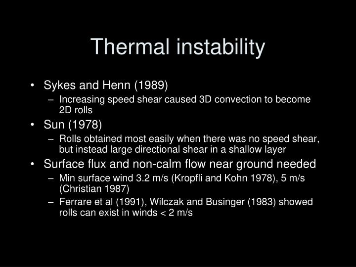 Thermal instability