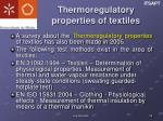 thermoregulatory properties of textiles