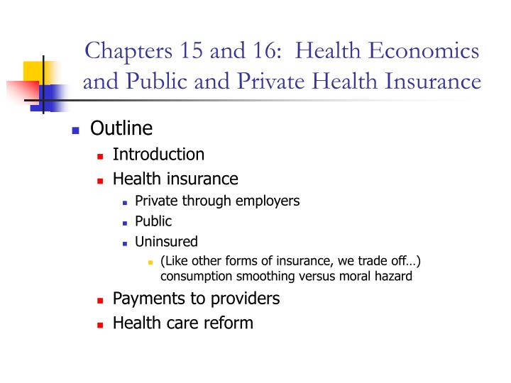 chapters 15 and 16 health economics and public and private health insurance n.